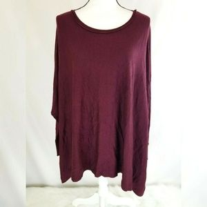 Maurices Poncho Sweater Burgundy Split Sides Soft